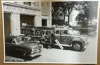 "12 By 18"" Black & White Picture Dearborn Fire Dept Ford F800 Fire & Ambulance"