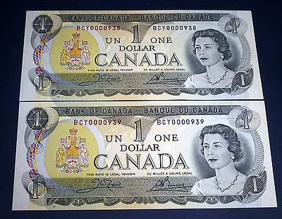 Low Serial number 938,939 CONSECUTIVE  ,  Bank of Canada 1973 $1 , uncirculated