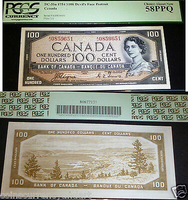 Pcgs Au58  Devils Face 1954 $100 ,bank Of Canada  - World Famous Banknote