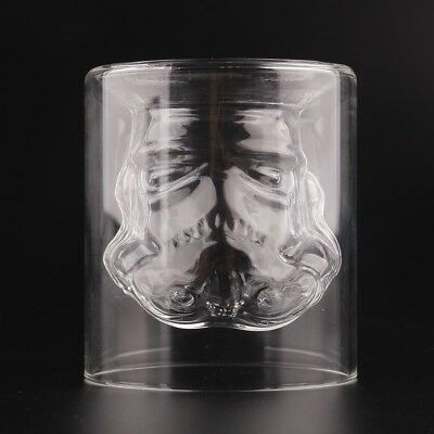 Novelty Stormtrooper Glass Tumbler Star Wars Double Wall Crystal Shot Glass Cup