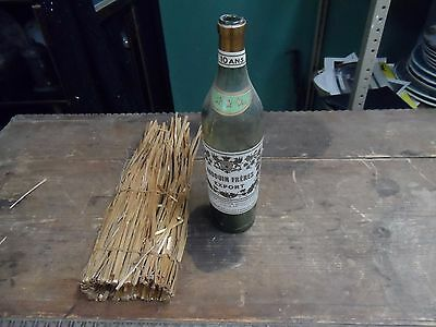 Rare 1900's Audouin Freres Export Cognac Bottle W/ Original Straw Wrapping