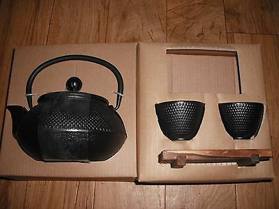 Japanese Tetsubin Teapot Cast Iron Kettle and 2 Cups Set by World Market