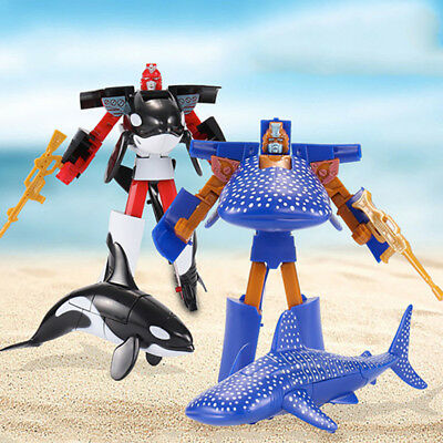 Deformed Transformers Action Figures Toys Shark Dolphin Whale Children's Robots