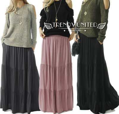 TRENDY UNITED Bohemian Style High Waist Shirring Ruffle Pocket Maxi Skirt S-XXL