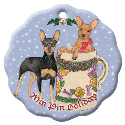 Miniature Pincher Min Pin Dog Holiday Porcelain Christmas Tree Ornament