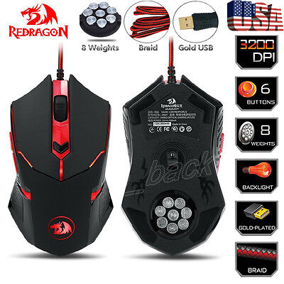 Redragon M601 3200 Dpi Gaming Mouse Mice 6 Buttons Adjustable Weight