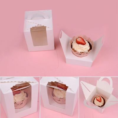 1/5/10 Pcs Single Cupcake Muffin Fairy Cake Boxes Clear Window Gift Box Healthy