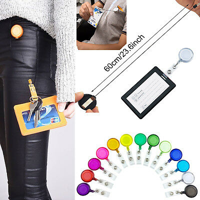 5-50X Color Retractable Badge Reel with CHAIN Pull-Belt Clip Key ID Card Holder
