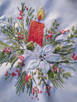 """Christmas Candle/Holly Berries ~ Vintage Hand Embroidered Tablecloth 34""""Sq"""