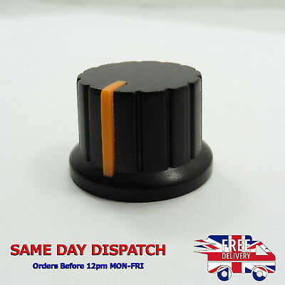 Rotary Taper Potentiometer Knob 6mm Knurled Hole Cap Orange Plastic Shell T05