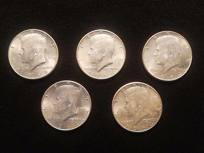 1964 P or D Kennedy 90% Silver Half Dollars - lot of 5 Coins - $2.50 Face Value