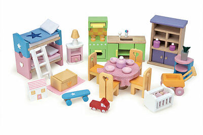 Le Toy Van Start Set Of Furniture- Dolls House Wooden Furniture & Accessories