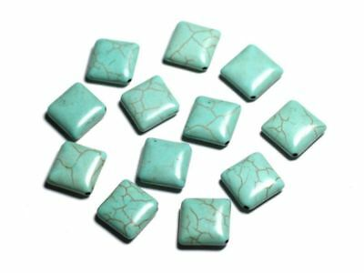 2pc Perles Turquoise Synthèse Croix 30mm Blanc  4558550029560