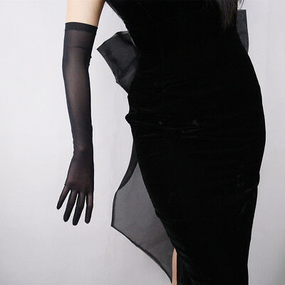 Tulle Long Gloves Stretchy Lace Nylon Black Semi Sheer TECH Touchscreen White