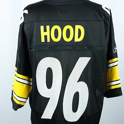 213c595969a Pittsburgh Steelers Ziggy Hood Jersey #96 Black Reebok On Field Sz LARGE