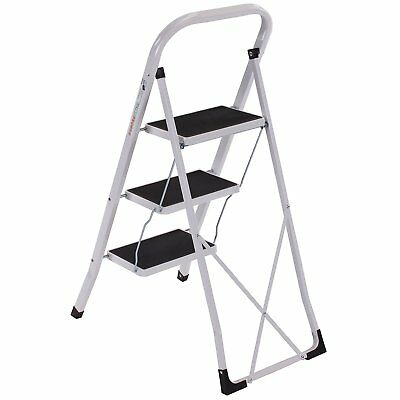 White Steel Folding Portable 3 Wide Step Ladder with Gripped Tread Anti-Slip New