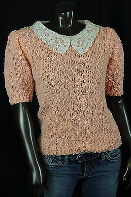 Vtg Crystal Sportswear S/S Sweater Peach Lace Peter Pan Collar Loose Knit size M
