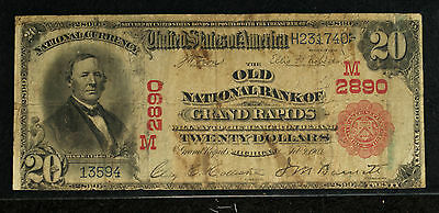 $20  Old National Bank of Grand Rapids MI - 1902 Red Seal Note - Charter # 2890