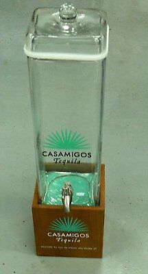 Rare Casamigos Tequila Beverage Drink Dispenser Jug Glass Top Wood Base F/S