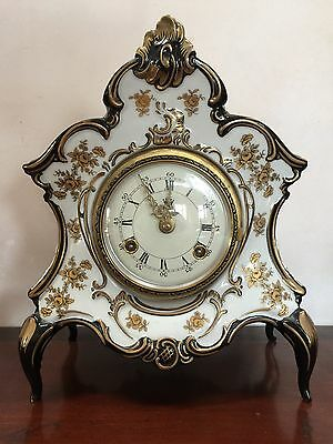 Beautiful Vintage Dresden  Porcelain Clock-- Excellent condition  Approx 1970