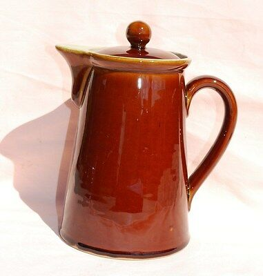 Denby Tall Two (2) Pint -  Brown Coffee Pot. Very Good Condition.