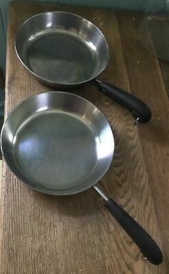"Vintage PAIR of REVERE WARE 8"" COPPER CLAD SKILLETS"
