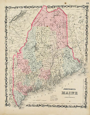 Maine Antique Johnson Hand Colored Map 1860