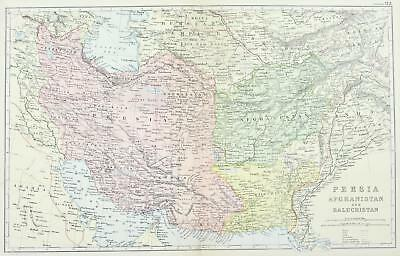 Persia Afghanistan Baluchistan Antique Map 1891