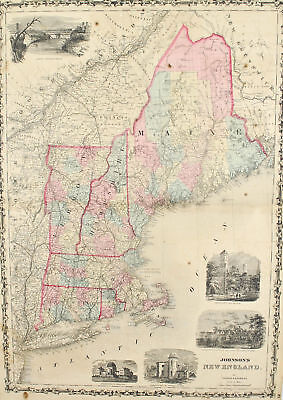 New England Maine Antique Johnson Hand Colored Map 1860