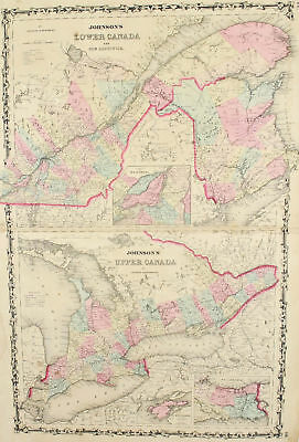 Canada Antique Johnson Hand Colored Map 1860