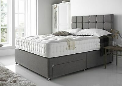New Chenille Divan Base Under Bed Storage Drawers Headboard Single Double King