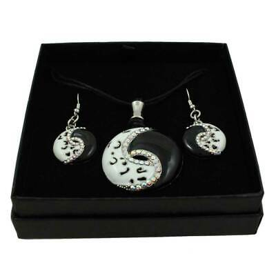 Harmonious Yin Yang Necklace and Earring Boxed Gift Set