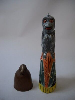 SET OF 2 Bells Made of WOOD 1 INDONESIAN Monkey MULTICOLOR 1 Small BROWN SKUNK