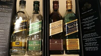 Johnnie Walker The Collection 4x20CL EMPTY Bottles  Black Gold Blue & Green w/bx