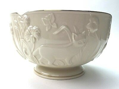 Lenox Garden Cat Bowl Embossed Ivory China Gold Trim Footed Planter Centerpiece