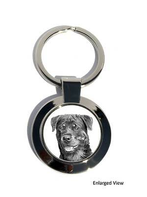 Rottweiler Dog Round Chrome Plated Keyring Boxed gift