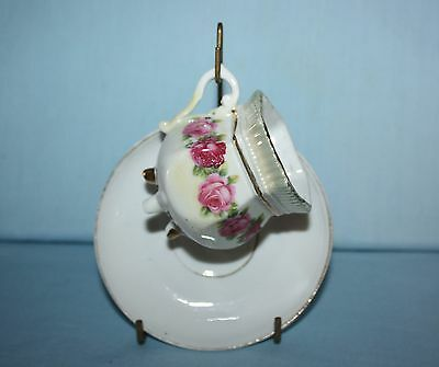 Vintage Tiny & Ornate China Tea Cup & Saucer Set With Stand