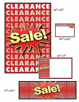 Clearance Sale Sign Kit, 108 Pieces: Window Signs/Posters, Pricing Signs, Banner