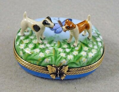 New French Limoges Trinket Box Jack Russell Terrier Dog S On Lily Of The Valley