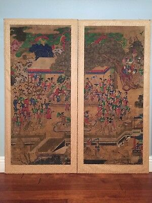 Pair of Antique Chinese Qing Dynasty Watercolor Painting Scrolls on Silk 郭子儀行樂圖