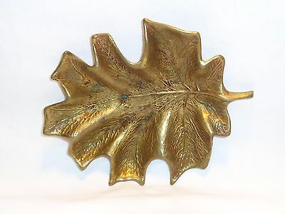 Antique Brass Maple Fall Leaf Pin Change Ring Trinket Tray Dish Ashtray Cambron