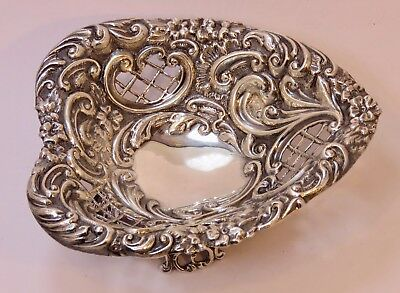 Victorian1894 James Deakin & Sons Pierced Heart Shape Sterling  Nut/Bon Bon Dish