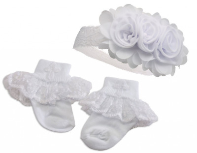 """Petals"" Baby Girl White Baptism or Christening Socks with Cross and Headband Se"