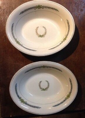 Vintage Myott Staffordshire England 2 oval vegetable bowls ATHENS pattern laurel