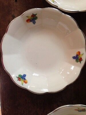 W S George China Fruit Pattern Berry Bowls and Serving Bowl scalloped edge