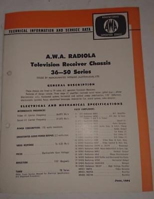 Vintage AWA Radiola Television 36-50 Series - Technical Info & Service Data 1965
