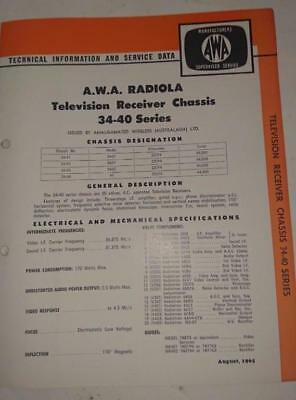 Vintage AWA Radiola Television 34-40 Series - Technical Info & Service Data 1965