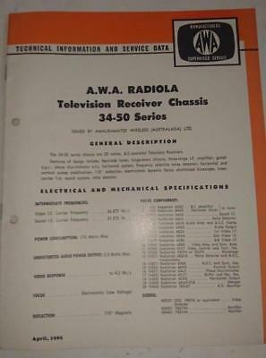 Vintage AWA Radiola Television 34-50 Series - Technical Info & Service Data 1965