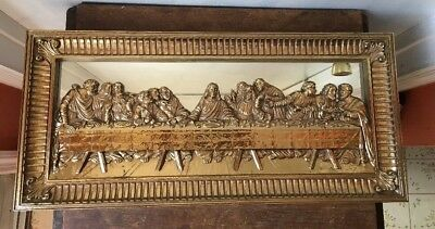 Vintage Gold Framed Last Supper 3D Mirrored Picture Christ Disciples Homco 1983