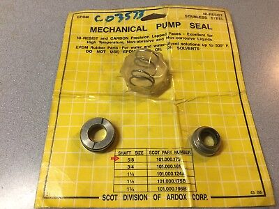 New Scot Mechanical Pump Seal Kit 101.000.173 5/8 Shaft With Retainer Ardox Corp